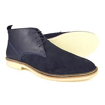 Silver Street Denmark Navy Leather & Suede Desert boots
