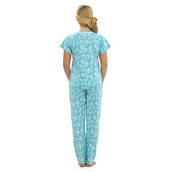 Naiset Walter Grange Kukka Painettu Jersey Polycotton Pyjama Pyjama Sleepwear - Sininen - 8-10