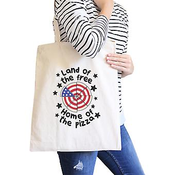 Land of The Free Home Funny Design Canvas Bag Pizza Lover Tote Bag