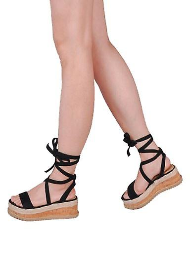 568ca02efb30 Suede Lace Up Braided Cork Wedge Flat Espadrille Sandals Black