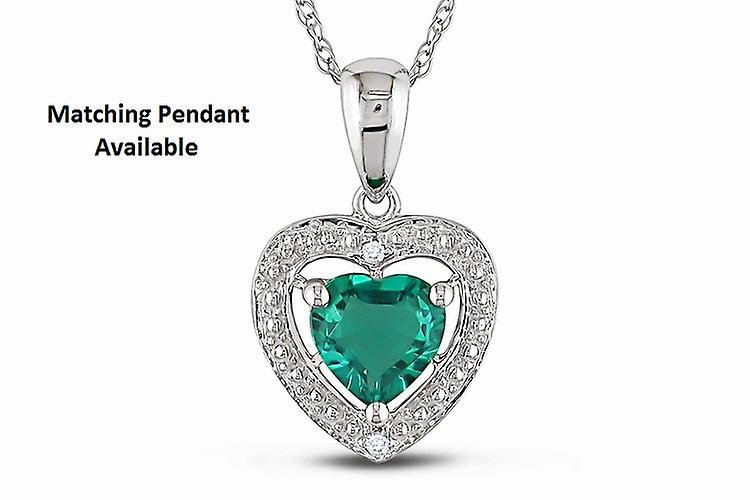 Affici Sterling Silver Earrings 18ct White Gold Plated with Heart Cut Emerald CZ Gems