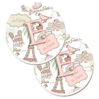 Letter E Love in Paris Pink Set of 2 Cup Holder Car Coasters