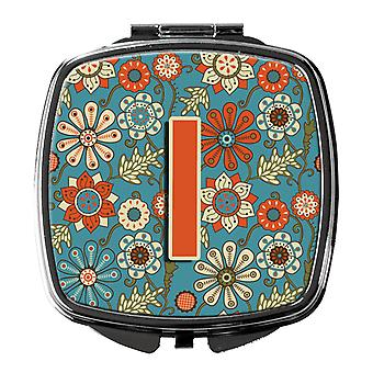 Carolines Treasures  CJ2012-ISCM Letter I Flowers Retro Blue Compact Mirror