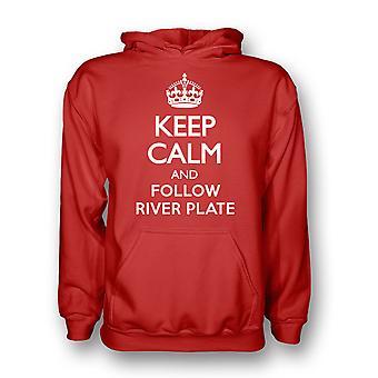 Garder calme et suivre la rivière plaque Hoody (rouge) - enfants