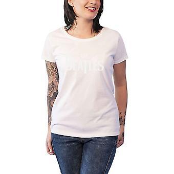 Beatles T paita pudota T Hi-Build Logo virallinen naisten uusi valkoinen Skinny Fit