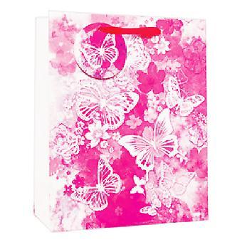 Simon Elvin Foil Watercolour Butterflies Design Gift Bags (Pack of 6)