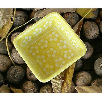 Viereckschale, 9,5 x 9,5 cm, ↑4,5 cm, Bunzlau gelb, BSN J-967