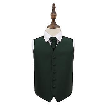 Dark Green Solid Check Wedding Waistcoat & Cravat Set for Boys
