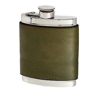 6Oz Racing Green Leather Captive Top Pewter Flask