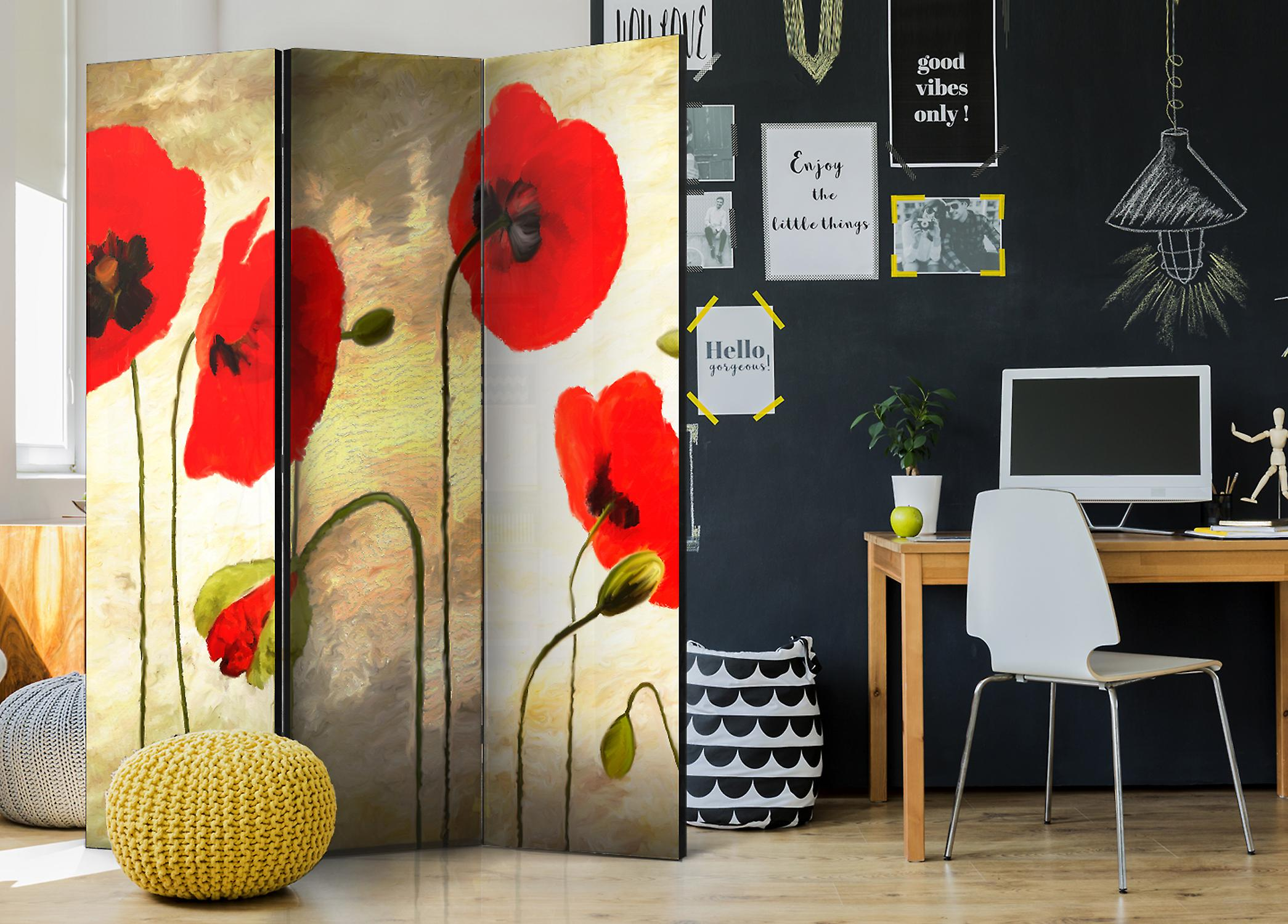 Paravent 3 volets - Golden Field of Poppies [Room Dividers]