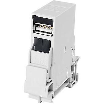 Montage rails connector USB 2.0 Connector, mount J80023A0004 licht grijs Telegärtner J80023A0004 1 PC('s)