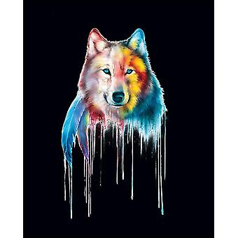 Mystical Wolf poster watercolor miniature