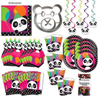 Panda Panda bear party set XL 63-teilig 8 guests Panda party birthday party package