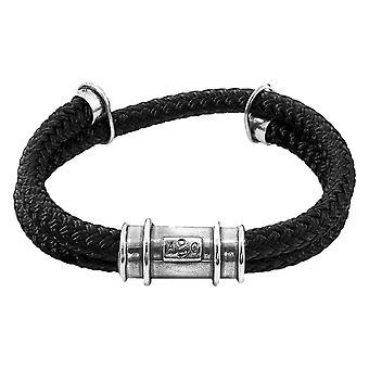 Anker og besætning Larne reb armbånd - sort/sølv