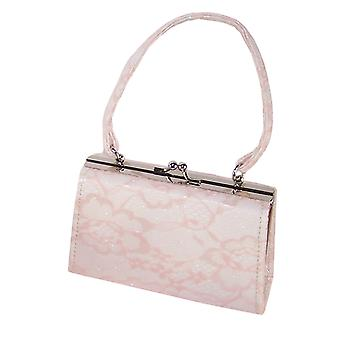 Girls peach and ivory sparkly handbag