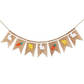 TRIXES 2M Burlap Easter Bunting Rabbit, Carrot and Chick Rustic Garland