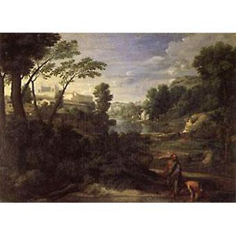 المناظر الطبيعية مع ديوجين،نيكولاس بوسين، 60x40cm