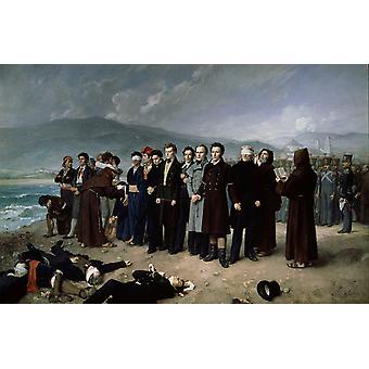 Henrettelsen af Torrijos og hans, Antonio Gisbert, 60x40cm