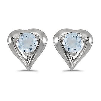 LXR 10k Or blanc Rond Aquamarine Boucles d'oreilles coeur 0.14 ct