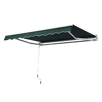 Outsunny 3m x 2.5m Garden Patio Manual Awning Canopy Sun Shade Shelter with Winding Handle Retractable Green NEW