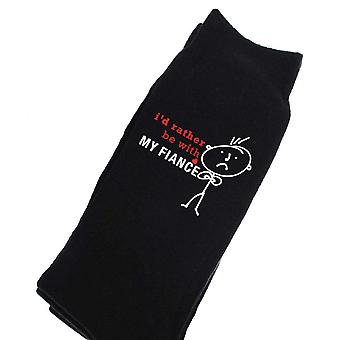 Mens I'd Rather Be With My Girlfriend Black Calf Socks