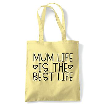 Maman Life Is The Best Life, Tote - Reusable Shopping Canvas Bag Cadeau Her