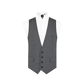 Dobell Mens Grey Sharkskin Waistcoat Slim Fit 4 Button