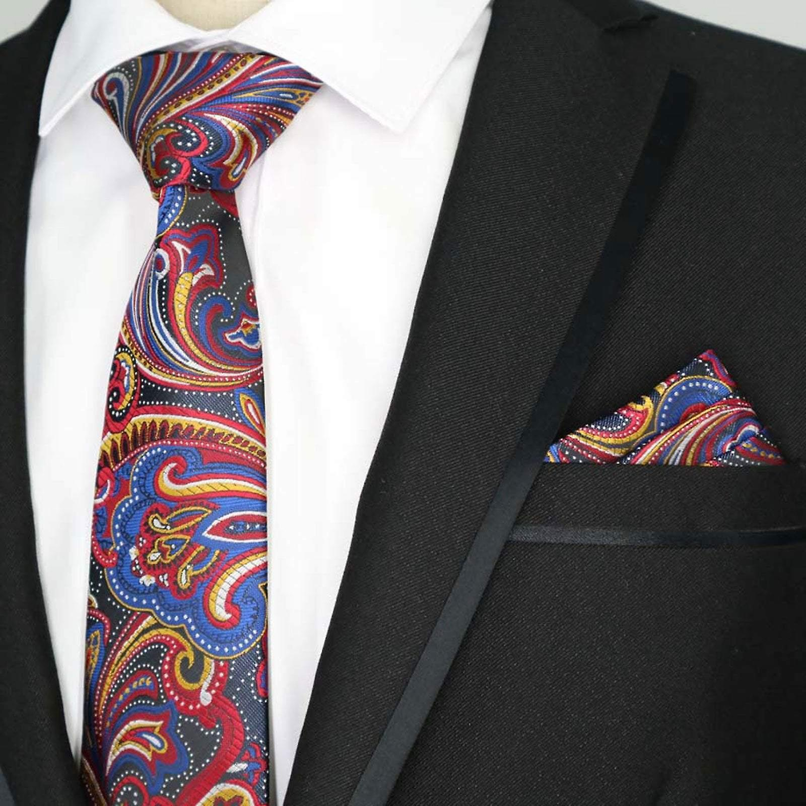 Red & yellow indian wedding pocket square & necktie