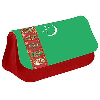 Turkmenistan Flag Printed Design Pencil Case for Stationary/Cosmetic - 0182 (Red) by i-Tronixs