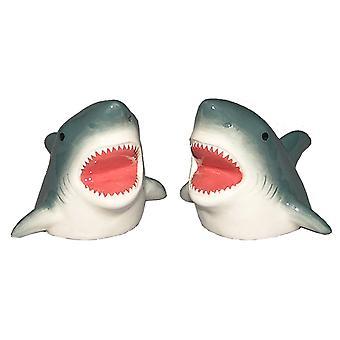 Haai bijten grappig zout en peper shakers keramische