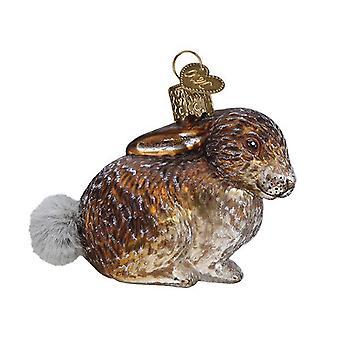 Oude wereld kerst vintage geïnspireerd Cottontail Bunny vakantie ornament glas