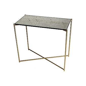 Gillmore Antiqued Glass Small Console Table With Brass Cross Base