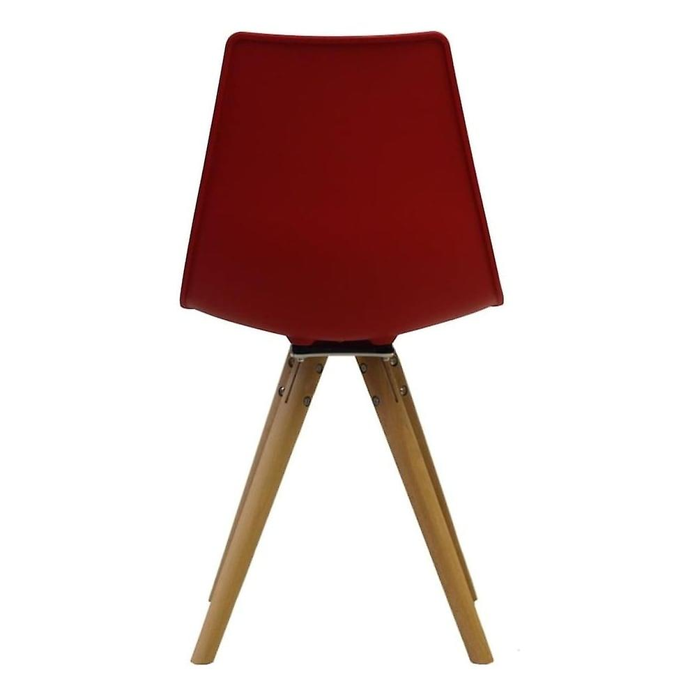 Fusion Living Iconic Red Plastic Dining Chair With Light Wood Legs