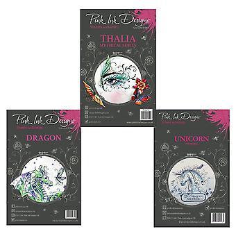 Pink Ink Designs Mythical Creatures Clear Stamp Set Bundle