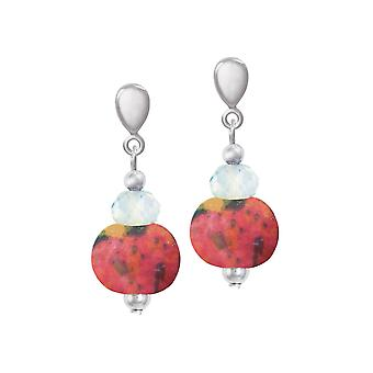 Eternal Collection Harmony Coral Pink Ceramic And Crystal Drop Clip On Earrings