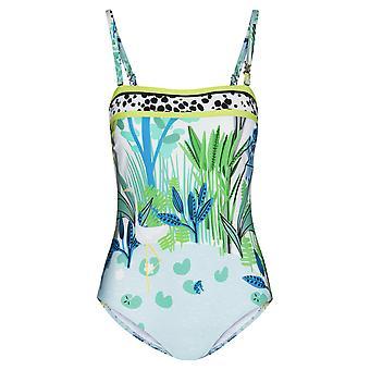 Féraud 3195301-16526 Women's Voyage Sealeaves Blue Costume One Piece Swimsuit
