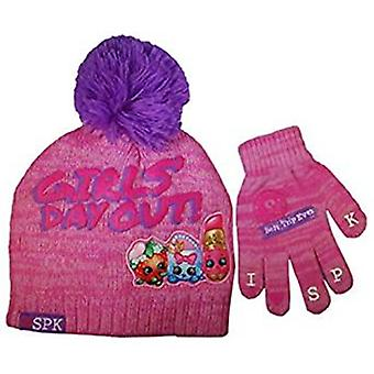 Beanie Cap - Shopkins - Girls Day Out Hat & Glove Set New 301634