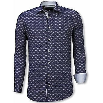 E Shirts - Slim Fit - Bicycle Pattern - Blue