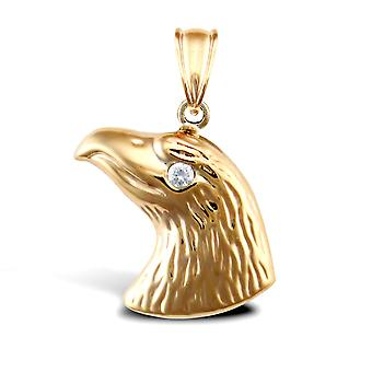 Jewelco London Ladies 9ct Yellow Gold White Round Brilliant Cubic Zirconia Eagle Head Charm Pendant