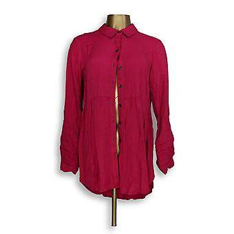 Joan Rivers Classics collectie vrouwen ' s top knop front roze A293988