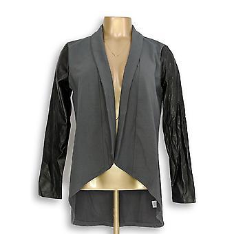 Femmes avec Control Women-apos;s Jacket Knit w/ Faux Leather Sleeve Gray A267389