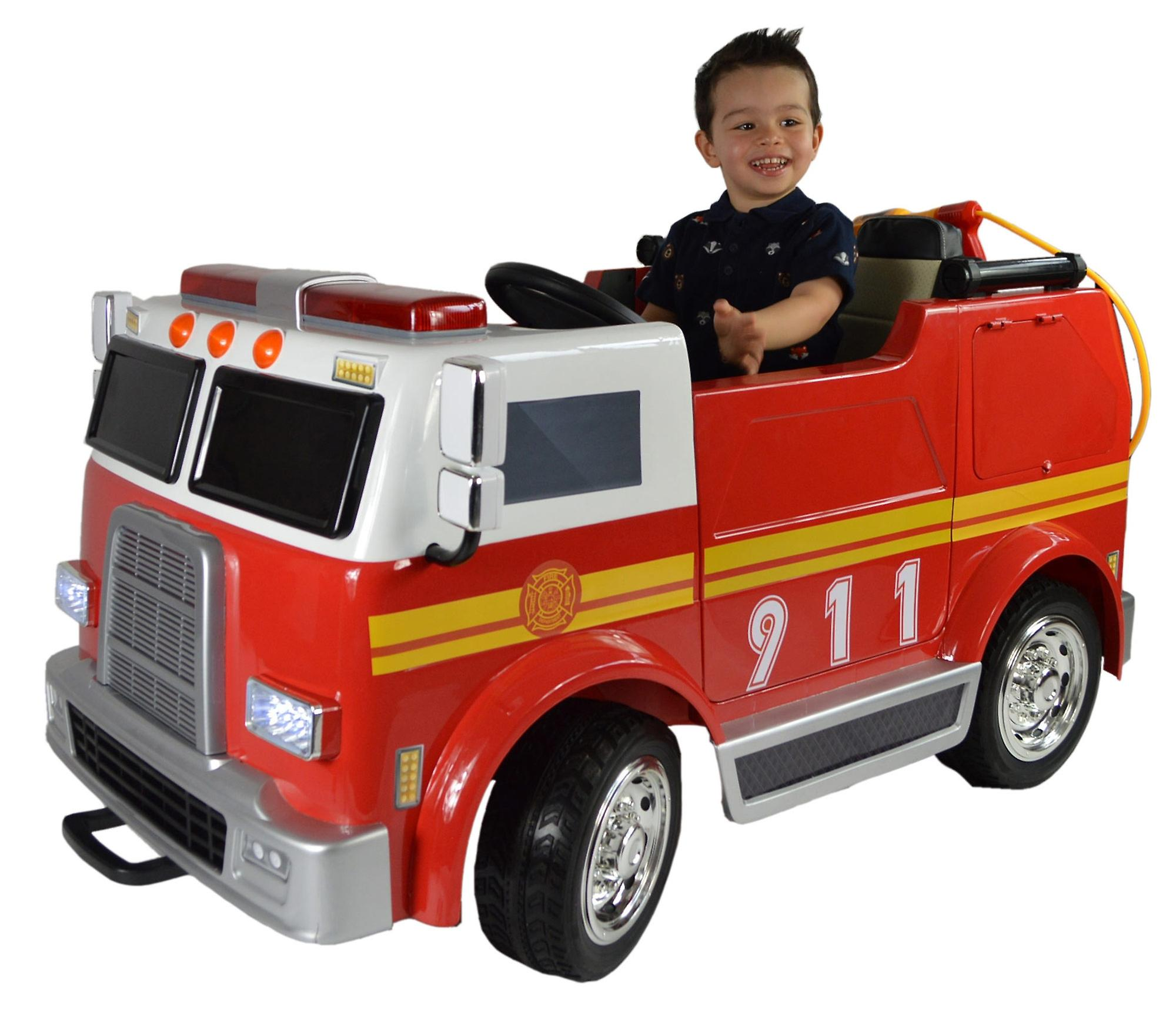 Hand Painted Electric Kids Ride On Toy Fire Engine - Deluxe Version