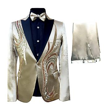 Allthemen Men's 2-Piece Tuxedos Dance Stage Performance Suits Jacket&Pants