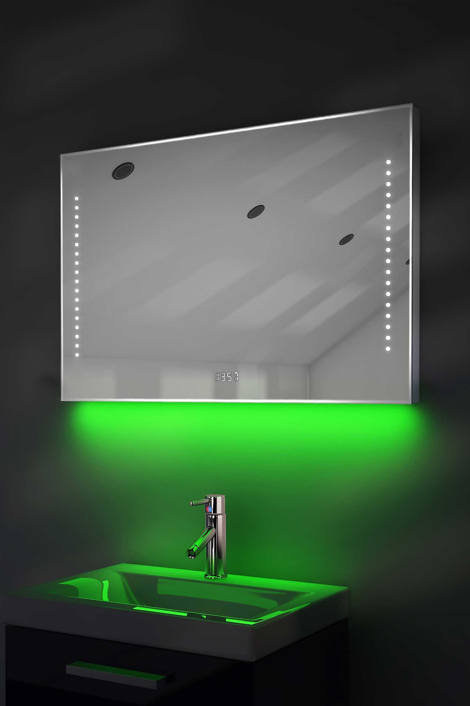 Digital Clock Slim Mirror with RGB Lighting, Demist & Sensor k194rgb