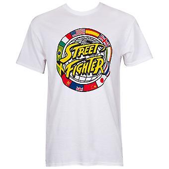 Street Fighter Circle logo miesten ' s valkoinen T-paita