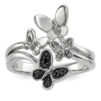 925 Sterling Silver Polished White and Black Diamond Butterfly Angel Wings Ring Jewelry Gifts for Women - Ring Size: 6 t