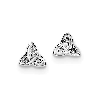 925 Sterling Silver Open Polished Rhodium Plated Trinity Post Earrings - 1.2 Grams