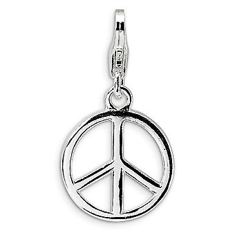 925 Sterling Silver Rhodium plated Fancy Lobster Closure Small Polished Peace Sign With Lobster Clasp Charm Pendant Neck