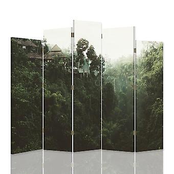 Dekorative Raumteiler, 5 Paneele, doppelseitig, 360 ° Drehbare Leinwand, Gebäude in den Tropen