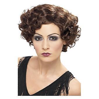 Womens 20s brun flørtende Flapper parykk Fancy kjole tilbehør
